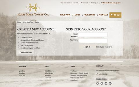 Screenshot of Login Page mybigcommerce.com - Holm Made Toffee Co., - Sign in - captured Sept. 18, 2014