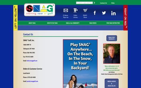 Screenshot of Contact Page snaggolf.com - Contact Us : SNAG - captured Dec. 19, 2015