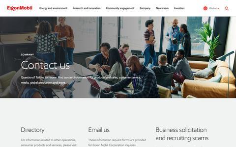 Screenshot of Contact Page exxonmobil.com - Contact us | ExxonMobil - captured Feb. 10, 2019