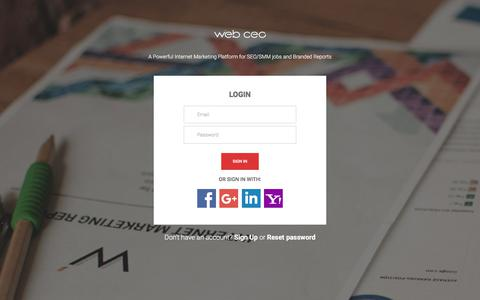 Screenshot of Login Page webceo.com - Please sign in  / Web CEO - captured Sept. 13, 2017