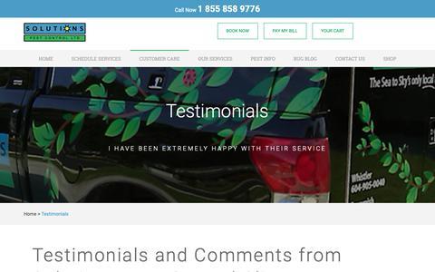 Screenshot of Testimonials Page pestsolutions.ca - Testimonials - captured Oct. 18, 2018