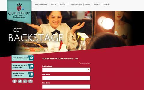 Screenshot of Signup Page queensburytheatre.org - Signup for Queensbury Theatre eNewsletter! - Queensbury Theatre - captured Oct. 22, 2017