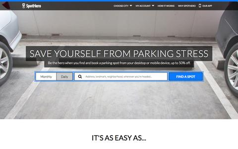 Screenshot of Home Page spothero.com - SpotHero | On-Demand Parking App | Find, Book & Save - captured Dec. 13, 2014