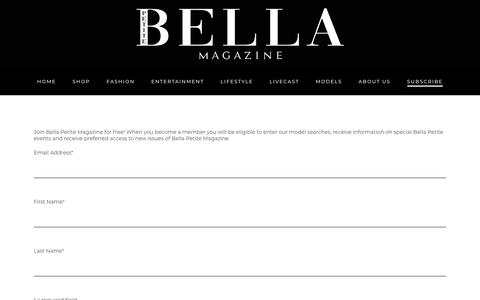 Screenshot of Signup Page bellapetite.com - SUBSCRIBE – Bella Petite - captured Dec. 9, 2018