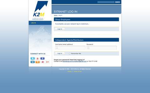 Screenshot of Login Page k2m.com - Log In - K2M - captured Oct. 27, 2014