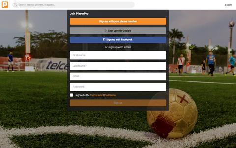 Screenshot of Signup Page getplayerpro.com - Sign up - PlayerPro - captured Oct. 6, 2018