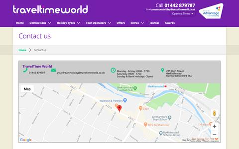 Screenshot of Contact Page traveltimeworld.co.uk - Contact Travel Time World - captured Oct. 20, 2018