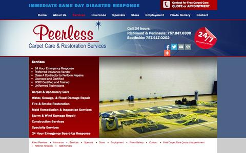 Screenshot of Services Page peerlessva.com - Services - Fire and Water Restoration, Carpet Cleaning, Mold Remediation, Construction in Greater Hampton Roads| Peerless Carpet Care & Restoration - captured Nov. 1, 2014
