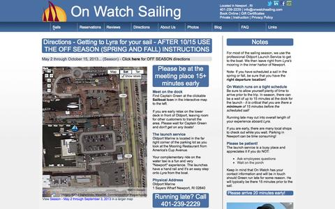 Screenshot of Maps & Directions Page onwatchsailing.com - On Watch | Directions | How to find us - captured Oct. 26, 2014