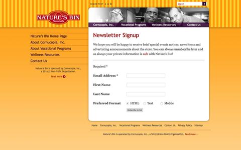 Screenshot of Signup Page cornucopia-inc.org - Nature's Bin | Signup for the Nature's Bin Newsletter - captured Dec. 12, 2015