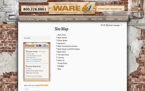 Screenshot of Site Map Page wareinc.com - Site Map - Boiler - Chillers - Boiler Rental - WARE - captured Feb. 26, 2016