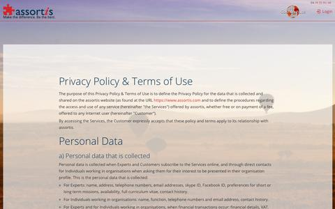 Screenshot of Terms Page assortis.com - Privacy Policy & Terms of Use - captured Nov. 6, 2018