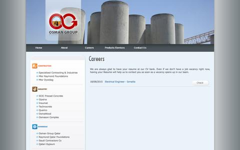 Screenshot of Jobs Page osman.net - Osman Group - Careers - captured Dec. 17, 2016