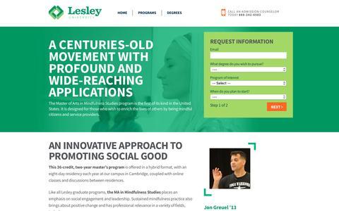 Screenshot of Case Studies Page lesley.edu - Lesley University - captured Oct. 14, 2016