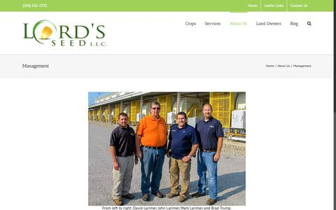 Screenshot of Team Page lordsseed.com - The Management at Lord's Seed LLC - captured Sept. 30, 2018