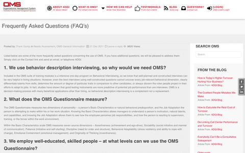 Screenshot of FAQ Page 2oms.com - Frequently Asked Questions (FAQ's) » The Assessment and Development Group International (ADGI) - captured Nov. 19, 2016