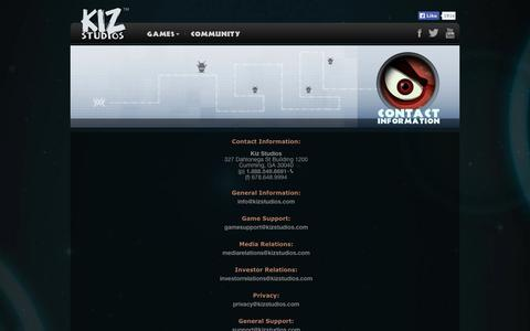 Screenshot of Contact Page kizstudios.com - Kiz Studios - captured Sept. 23, 2014