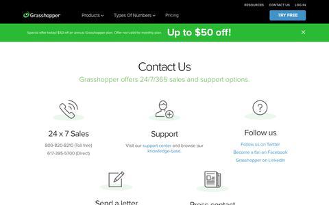 Screenshot of Contact Page grasshopper.com - 24/7 Sales & Customer Support (1.800.820.8210) - Grasshopper Virtual PBX - captured Aug. 14, 2019