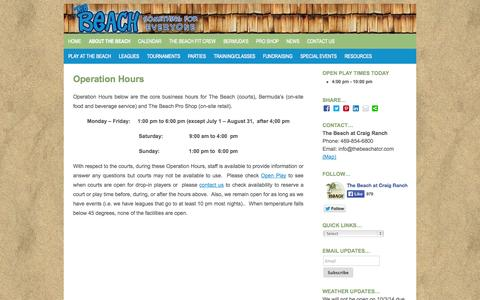 Screenshot of Hours Page thebeachatcr.com - Operation Hours   McKinney TX   The Beach at Craig Ranch - captured Oct. 7, 2014