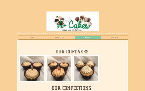 Screenshot of Menu Page apluscakes.com - a-plus-cakes | MENU - captured Nov. 17, 2016
