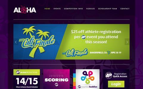 Screenshot of Home Page alohaspiritchamps.com - Aloha International Spirit Championships - captured Oct. 4, 2014