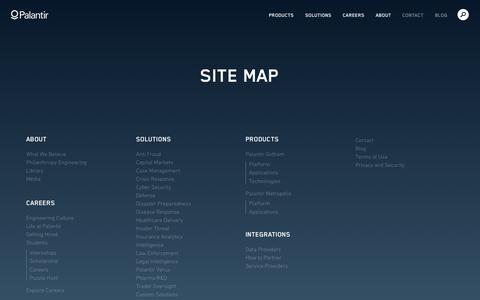 Screenshot of Site Map Page palantir.com - Site Map   Palantir - captured June 22, 2015