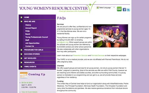 Screenshot of FAQ Page ywrc.org - About the Young Women's Resource Center - captured Oct. 7, 2014