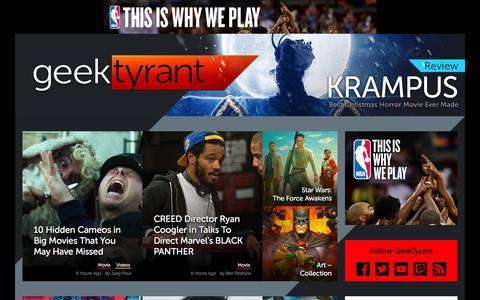 Screenshot of Home Page geektyrant.com - GeekTyrant – Geek Movie and Entertainment News - captured Dec. 5, 2015