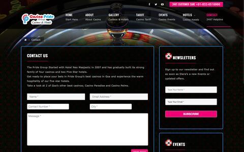Screenshot of Contact Page bestgoacasino.com - Contact | Casino Pride Goa - captured Sept. 29, 2016
