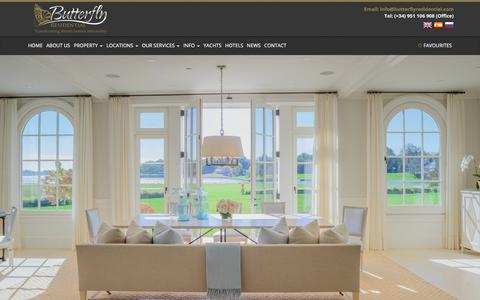 Screenshot of Home Page butterflyresidential.com - Butterfly Residential | Luxury Real Estate | Marbella & Barbados | Butterfly Residential - captured Oct. 11, 2017