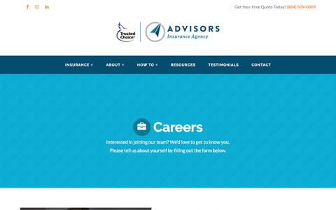 Screenshot of Jobs Page advisorsinsuranceagency.com - Careers - Advisors Insurance Agency - captured July 29, 2018