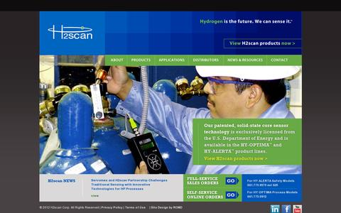 Screenshot of Home Page h2scan.com - H2scan | Hydrogen leak detection sensor gas process monitoring sensing systems Valencia CA USA - captured July 11, 2014