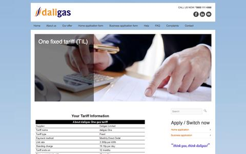 Screenshot of Pricing Page daligas.co.uk - One fixed tariff (TIL)  Daligas - captured Sept. 26, 2014