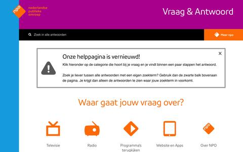 Screenshot of Contact Page npo.nl - NPO Help - captured March 10, 2016