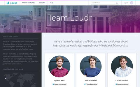 Screenshot of Team Page loudr.fm - Team Loudr - captured Oct. 28, 2014