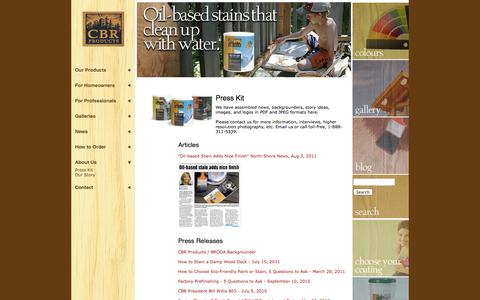 Screenshot of Press Page cbrproducts.com - Wood stain articles: how to stain a deck, how to refinish logs + + +   CBR Products - captured Sept. 26, 2014
