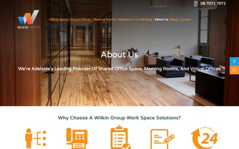 Screenshot of About Page wilkingroup.com.au - About Us - Office Space, Virtual Offices, Meeting Rooms and Mediation Rooms in Adelaide - captured Oct. 20, 2018