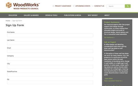 Screenshot of Signup Page woodworks.org - Sign Up Form - WoodWorks - captured June 15, 2019