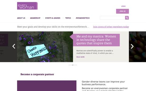 Screenshot of Home Page everywoman.com - Everywoman – the number one network for women in business around the world - captured Jan. 20, 2016
