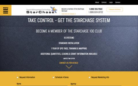 Screenshot of Contact Page starchase.com - Take Charge - StarChase Pursuit Management Technology - captured Nov. 5, 2014