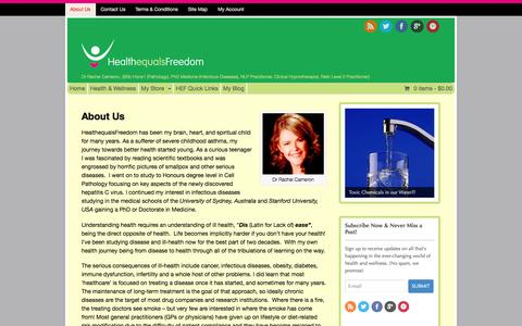 Screenshot of About Page healthequalsfreedom.com - About Us - Health Equals Freedom - captured Nov. 1, 2014