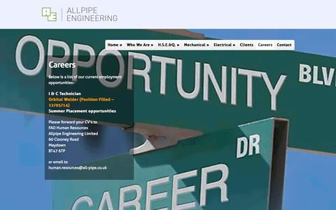 Screenshot of Jobs Page all-pipe.co.uk - Careers | Allpipe Engineering - captured Oct. 4, 2014