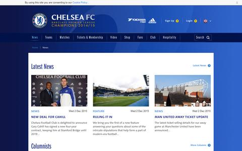Screenshot of Press Page chelseafc.com - News | Official Site | Chelsea Football Club - captured Dec. 3, 2015