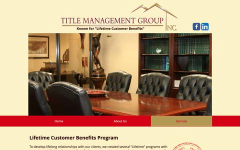 Screenshot of Services Page titlemg.com - Title Closing | United States | Title Management Group | Services - captured Oct. 19, 2018