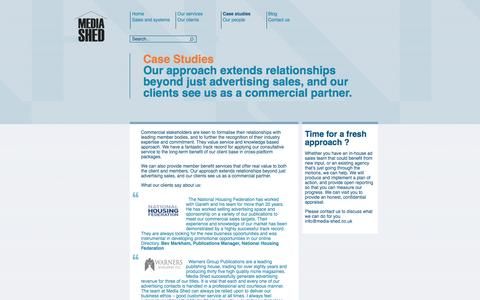 Screenshot of Case Studies Page media-shed.co.uk - Case studies | Media Shed - captured Oct. 27, 2014
