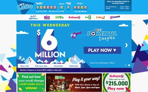 Screenshot of Home Page mylotto.co.nz - Official Lotto, Bullseye, Keno & Play 3 Results & Tickets | Lotto NZ � MyLotto - captured Jan. 18, 2016