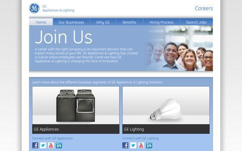 Screenshot of Jobs Page geconsumerandindustrial.com - Careers   GE Home & Business Solutions - captured Sept. 23, 2014