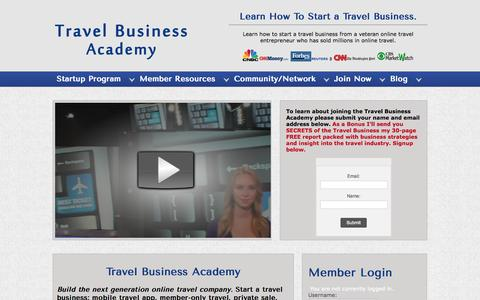 Screenshot of Home Page travelbusinessacademy.com - Start A Travel Business, Travel & Tourism Business, Home Based Travel Business, Tour Operator, Travel Agency, Travel Agent - captured Sept. 23, 2014