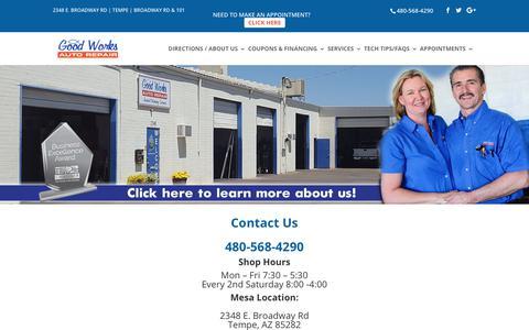 Screenshot of Contact Page goodworksautorepair.com - Contact Us   Good Works Auto Repair Tempe - captured Aug. 28, 2017