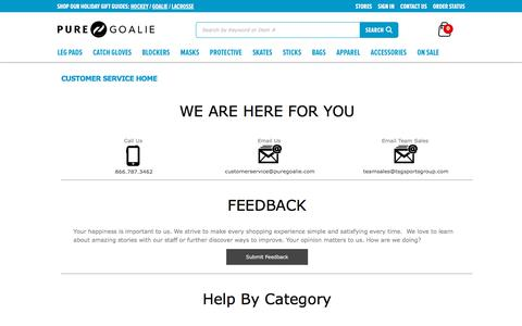Screenshot of Contact Page Support Page purehockey.com - Goalie Customer Service   Pure Goalie - captured Dec. 9, 2017